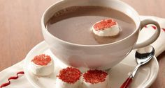 Hot Cocoa with Red Sugar Crusted Marshmallows