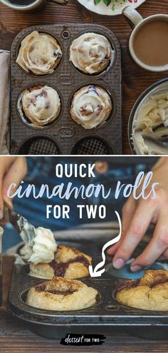 Small batch cinnamon rolls for two. Quick and easy cinnamon roll recipe made without yeast! Recipe makes just 4 cinnamon rolls for two. Quick And Easy Breakfast, Quick Easy Meals, Perfect Breakfast, Delicious Breakfast Recipes, Brunch Recipes, Yummy Recipes, Quick Cinnamon Rolls, Small Batch Baking, Muffins