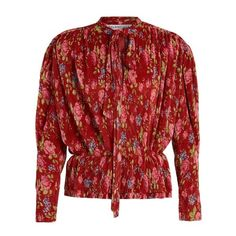 Balenciaga Pleated Lavalliere blouse (€1.825) ❤ liked on Polyvore featuring tops, blouses, red print, long blouse, tie neck blouse, red blouse, long sleeve tops and tie neck tie