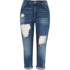 Blue boyfriend cropped jeans