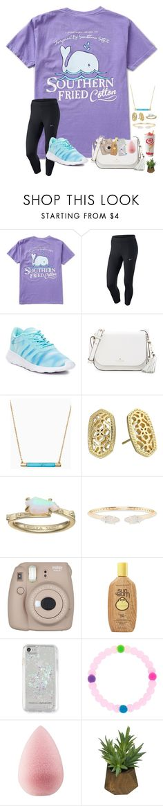 """""""~just left the airport~"""" by taybug2147 ❤ liked on Polyvore featuring NIKE, adidas, Kate Spade, Kendra Scott, Fujifilm, Sun Bum, Rebecca Minkoff, beautyblender and Threshold"""