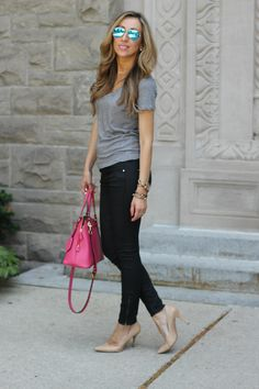 black skinnies / grey T / beige heels / bright bag // member Lilly of Lilly Style