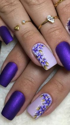 Super Nails Art Ideas For Spring Inspiration Nailart Ideas Purple Nail Art, Purple Nail Designs, Floral Nail Art, Pretty Nail Art, Colorful Nail Designs, Acrylic Nail Designs, Cool Nail Art, Pink Nails, Nail Art Designs