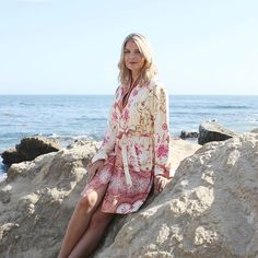 Check out our new print #marrakech with the beautiful @pialamberg in Laguna Beach #lagunabeach #model #photoshoot #new #collection #picoftheday #instalove #fashion #bathrobes #relax #soft