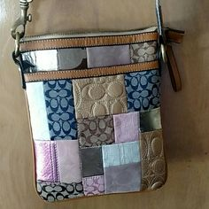 !! Purse !! Used patchwork coach purse. The gold patches are wearing off. Small stains on strap and purse. Pockets on side. Can send more pictures. Coach Bags Satchels