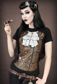 Restyle Steampunk Jabot Waistcoat Gothic Brown Black Short Sleeved Tshirt  Top  3c9ea9986f