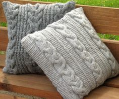 Throw Pillow Decorative Cushion Covers Hand knitted by Initasworks