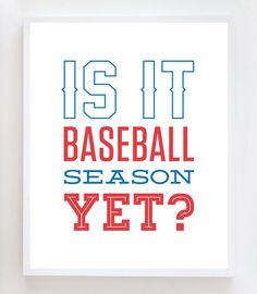 8x10 Baseball Season Wall Art Print by OwlUNeedIsLove on Etsy, $12.95