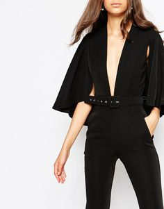 Image 3 ofJarlo Tall Plunge Jumpsuit With Cape Detail