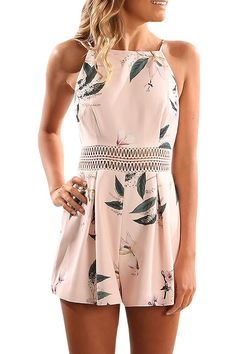 0791b583432 Women Strap Leaf Print Rompers Casual Sleeveless Summer Shorts Jumpsuit  Playsuit - Pink - CG182GZE8HR