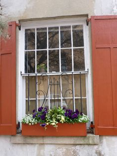 Red Shutters and window box Window Boxes, Window Wall, Red Shutters, Vertical Planter, Garden Planters, Farm House, Curb Appeal, Window Treatments, Architecture Design