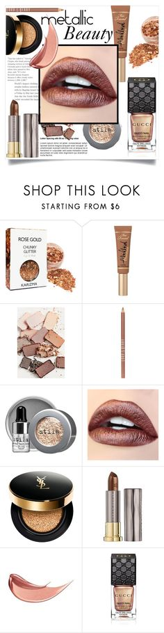 """Metallic Beauty"" by ry08 ❤ liked on Polyvore featuring beauty, Too Faced Cosmetics, Stila, Lord & Berry, Yves Saint Laurent, Urban Decay, Gucci, metallic, MetallicBeauty and metalliclipstick"