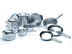 DeLonghi Cookware Set - decisions, decisions - this is a much better set as the pans have no non-stick coating, plus there is a steamer and a colander. Wish the lids were glass. Cookware Set, Measuring Cups, Stainless Steel, Glass, Kitchen, Steamer, 21st Century, Hunting, Tools