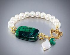 """Jewelry Making Beads Image of """"Natalie"""" - Chrysocolla and Cultured Pearl Bracelet/Earrings/Set - Browse all products from Wedding Bead Jewellery, Wire Jewelry, Beaded Jewelry, Jewelery, Yoga Jewelry, Bridal Jewelry, Gemstone Bracelets, Sterling Silver Bracelets, Jewelry Bracelets"""
