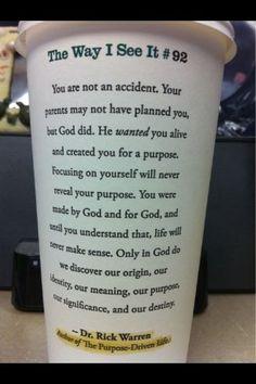 Be purpose driven...