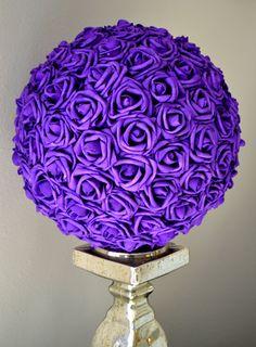PURPLE Flower Ball.  Wedding Centerpiece. Kissing by KimeeKouture