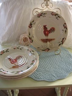 Rooster dinnerware plates Shabby French Farmhouse painted Stoneware Provincial set of 4 Rooster Chicken Plates Country Farmhouse Kitchen & Rooster Platter designed by Susan Winget | Roosters! | Pinterest ...