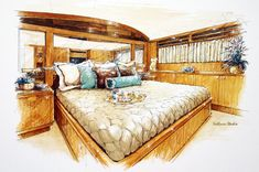 Quick marker style - by: Yacht Interior Rendering Interior Design Renderings, Drawing Interior, Interior Rendering, Interior Sketch, Interior Architecture, Interior And Exterior, Architecture Sketchbook, Architecture Visualization, Perspective