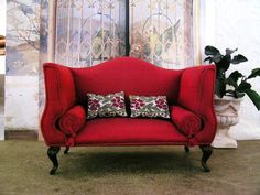 Lovely Miniature Red Sofa in 1/12 scale.