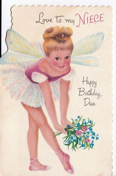 Vintage Birthday Cards Niece | Vintage 1950's Love to My Niece Ballerina by poshtottydesignz