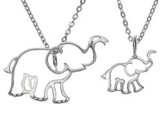 Mom and Baby Elephant Necklace Pair