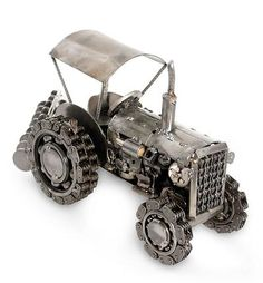 Unique Mexican Recycled Metal Auto Parts Sculpture - Rustic Farming Tractor | NOVICA