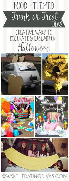 Unique ideas for decorating your car for Trunk or Treat. I can't decide which one to do - so many ideas!!! www.TheDatingDivas.com