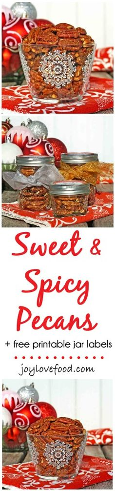 Sweet and Spicy Pecans - toasted pecans coated in a delicious blend of spices, perfect for a party, get together or gift giving this holiday season.