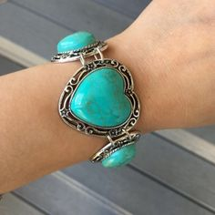 "Turquoise Cute Turquoise Bracelet with (2) Adjustable hooks-Measures about 7.5""lying Flat-Price Firm unless bundled for the discount‼️‼️‼️‼️ T&J Designs Jewelry Bracelets"