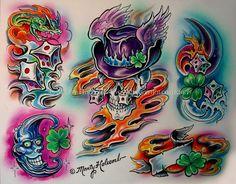 (Visit [link] to purchase his original flash) Copyright to Marty Holcomb Lucky 3d Leg Tattoos, 90s Tattoos, Skeleton Tattoos, Best Sleeve Tattoos, Skull Tattoos, Graffiti Tattoo, Graffiti Drawing, Ed Hardy Designs, Letras Tattoo