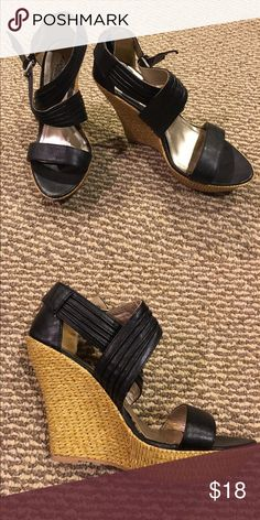 """Black strappy wedges Great black sandal wedges, hardly worn. Heels are 5"""" high. Excellent condition. No flaws. Charlotte Russe Shoes Wedges"""