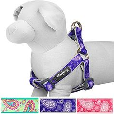 Blueberry Pet 3 Colors Soft  Comfy Stepin Valentine Paisley Flower Print Dog Harness Chest Girth 155  195 Violet Small Adjustable No Pull Harnesses for Dogs *** Read more reviews of the product by visiting the link on the image.(This is an Amazon affiliate link)