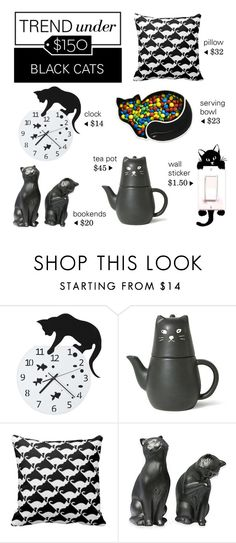 """Trend Under $150: Black Cats"" by polyvore-editorial ❤ liked on Polyvore featuring interior, interiors, interior design, hogar, home decor, interior decorating, Dot & Bo, blackcats y trendunder150"