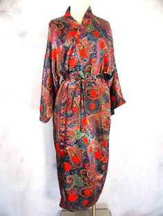 Circa 2000 Robe Sz M Paisley Rose Vintage 80s Shiny Belted Lingerie Long Dress