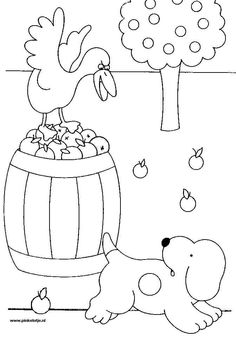 afbeeldingsresultaat voor appelboom kleurplaat herfst