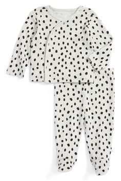 Leopard Kimono Top & Footed Pant Set (Baby Girls)