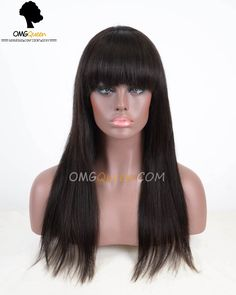 reviewed by Pretty P Collins - Love it.   Kim Hairstyles Virgin Brazilian Silky Straight Lace Wigs with Bangs [BMW02]-omgqueen.com