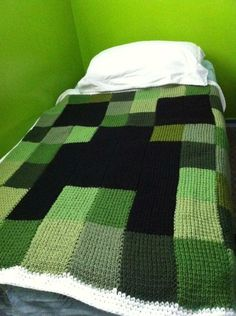 Making this Minecraft Creeper blanket for Caden except crocheting it. He found this on his own and showed it to me.