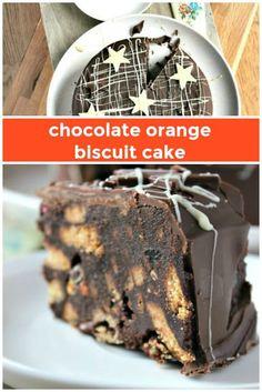Chocolate Orange Biscuit Cake - an alternative Christmas cake #christmascake #nobake #christmas Tray Bake Recipes, Baking Recipes, Dessert Recipes, Xmas Food, Christmas Cooking, Christmas Lunch, Chocolate Fridge Cake, Chocolate Biscuit Cake, Chocolate Slice