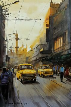 Watercolor Paintings Nature, Watercolor Paintings For Beginners, Indian Art Paintings, Watercolor Portraits, Indian Artwork, Street Painting, City Painting, Bengali Art, Composition Painting