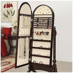 Cherry Cheval Mirror Jewelry Armoire At Big Lots. #