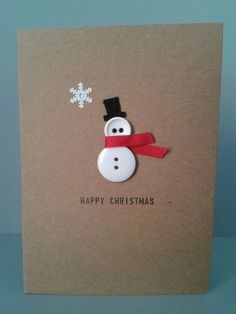 ▷ ideas - make Christmas cards - great gift ideas for you - DIY - Weihnachten - Noel Homemade Christmas Cards, Christmas Cards To Make, Homemade Cards, Christmas Holidays, Christmas Snowman, Button Christmas Cards, Creative Christmas Cards, Christmas Ideas, Christmas Projects