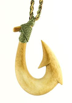 Aged Bone Maori Hawaiian Fish Hook Necklace by earthboundkiwi, $29.95