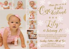 Gold and Pink Winter Onederland 1st Birthday Birthday Printable Invitation by MakinMemoriesOnPaper on Etsy https://www.etsy.com/listing/251671751/gold-and-pink-winter-onederland-1st