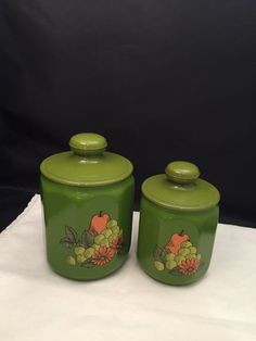 Kromex Nesting Kitchen Canisters Set 2 Avocado Green With Pear Grapes Daisiesh Kitchen Storage by missenpieces on Etsy