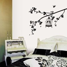 Birdcage Hanging on Tree Branch Wall Decal Removable Black Tree Home Bedroom Wall Art Sticker Peel&stick Bird Cage Decal Mural Family Tree Wall Sticker, Bird Wall Decals, Wall Art, Mural Art, Wall Mural, Decoration Stickers, Wall Stickers Home Decor, Window Stickers, Home Bedroom