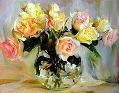 Saidov Aydemir - Arte en Rosas - Óleo con Espátula y Pincel .