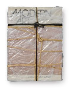 "Christo Vladimirov Javacheff [Bulgaria] (b 1935) ~ ""Wrapped Book Modern Art (Schellmann 95)"", 1978. The Book Modern Art, by Sam Hunter and John Jocobus, wrapped in polyethylene with twine and cord (33 x 25 x 4.5 cm) 