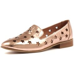 DJANGO & JULIETTE LASHES ROSE GOLD SHINE LEATHER (690 NOK) ❤ liked on Polyvore featuring shoes, leather lined shoes, polish shoes, shiny shoes, black loafer shoes and cutout shoes