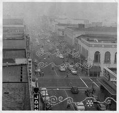 Looking down at Second St. and Thomas on smoggy day (1955) by 47specialdeluxe, via Flickr